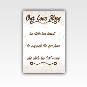Personalized!! Our Love Story Romantic Family Gifts, Wall Art Canvas