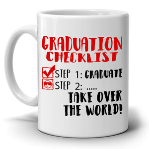 Graduation Checklist Plan Graduate and Take Over the World, Funny and Unique Grad Gifts, Printed on Both Sides! - Stir Crazy Gifts