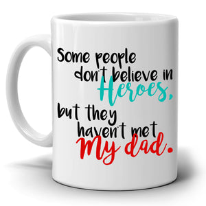 Daughters Fathers Day and Birthday Gift to My Hero Dad Papa Daddy Grandpa Coffee Mug, Printed on Both Sides! - Stir Crazy Gifts