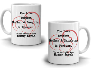 Personalized!! Daughter Love Gifts for Mother Coffee Mug, Unique Present Ideas for Mom, Grandma, Mama for Mothers Day and Birthday