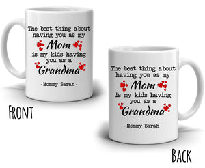 Personalized!! Unique Daughter Gift for Mom and Grandma Coffee Mug, Perfect Present for Mothers Day and Grandmother Birthday