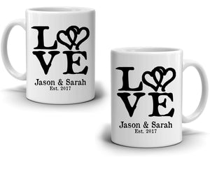 Personalized Romantic Love Husband and Wife Names Gift, Perfect for Couples Wedding Anniversary Valentines Coffee Mug, Printed on Both Sides!