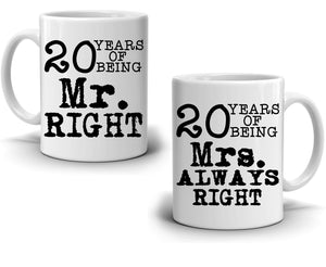 Personalized Number of Years, Mr. and Mrs. Right, Set of two Coffee Mugs, Printed on Both Sides! 2-Sets