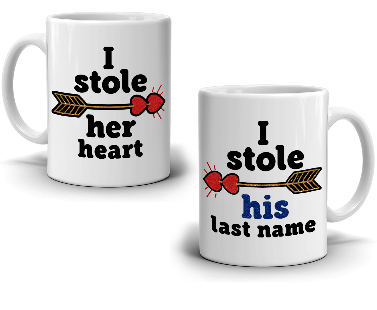 I Stole Her Heart I Stole His Last Name Couple S Coffee Mug Set Stir Crazy Gifts