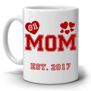 Personalized!! Number One Mom Coffee Mug Perfect Gifts from Daughter for Mothers Day, Grandmother Birthday and Anniversary Present for Wife