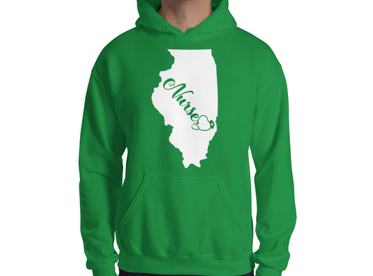 Illinois Nurse State Hooded Sweatshirt (Unisex) - Stir Crazy Gifts