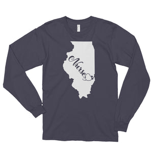 Illinois Nurse State Women's Long Sleeve T-shirt - Stir Crazy Gifts