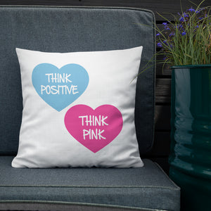 Think Pink Hearts Premium Pillow 18x18