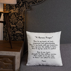 Nurse Prayer Premium Pillow 18x18 - Stir Crazy Gifts