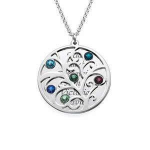 Filigree Family Tree  Pendant Necklace with Birthstones, Personlized with the names of your children - Stir Crazy Gifts