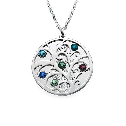 Filigree Family Tree  Pendant Necklace with Birthstones, Personlized with the names of your children