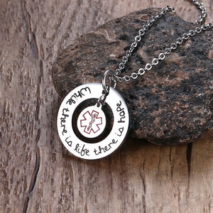 "Stainless Steel RN Medical Sign Jewelry Necklace - ""While there is life there is hope"""
