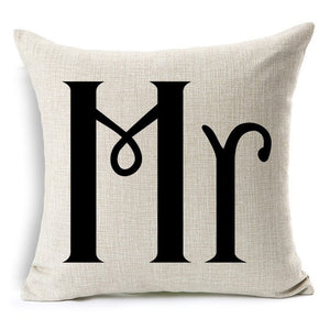 Cushion Cotton Linen 45*45cm Pillow Case Throw Couch Bed Home Mr & Mrs Pillowcases Romantic Valentine's Day Gif - Stir Crazy Gifts