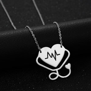 Medical Nurse Stethoscope Heart Stainless Steel Necklace - Stir Crazy Gifts