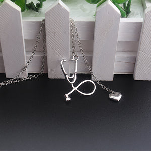 Medical Nurse Stethoscope Heart Pendant Necklace - Stir Crazy Gifts