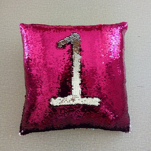 "Sequin Mermaid Throw Pillow Case - Two Tone Glitter, 16"" Pillowcase only"