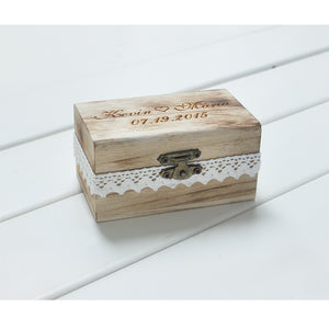 Personalized Gift Rustic Wedding Ring Bearer Box Custom Your Names and Date Engrave Wood Wedding  Ring Box - Stir Crazy Gifts