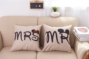 MR or MRS, Mickey & Minnie Mouse Pillowcase - Romantic Pillow Case cover for Him or Her, Romantic Anniversary Wedding Valentine's Gift