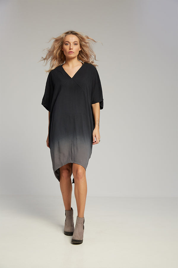 Kimono dress grey black