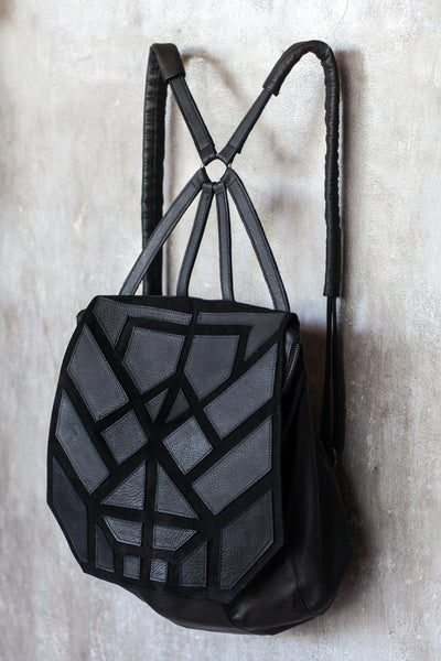 Patchwork leather backpack
