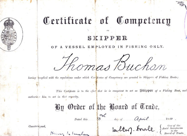 Skipper Certificate of Competency for Thomas Buchan
