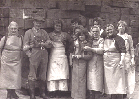 Chrissie (far left) working in a factory that gutted the herring