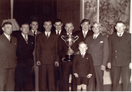 Jakie and the crew of the 'Unity' being presented with the Boothby Trophy