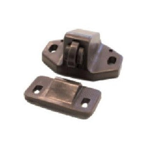 Plastic Roller Cupboard Catch & Plate - Brown