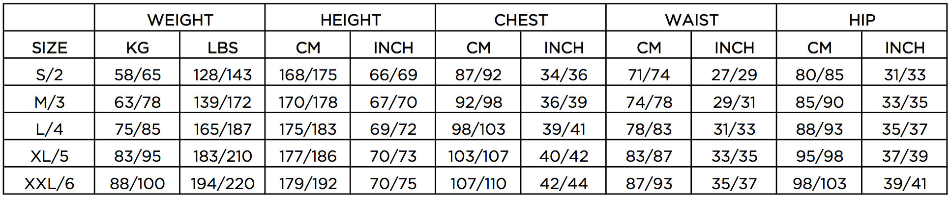 HECS Stealth wetsuit size guide