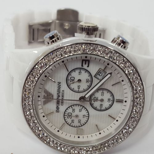 Ladies Ceramica White Plated Crystal Set Chronograph Watch Emporio Armani AR1456