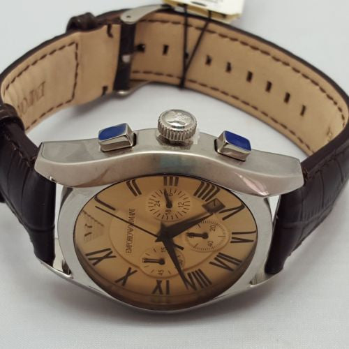 Mens Watches EMPORIO ARMANI PRIMO AR1634 Leather Strap Chronograph AR2