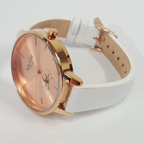 MA-GA LONDON OLYMPIA WOMEN'S WATCH WWB6 Rose Gold Face & Case White Strap