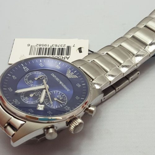 3935ac11b1a Emporio Armani Men s AR5860 Silver Stainless-Steel Quartz Watch with Blue  Dial