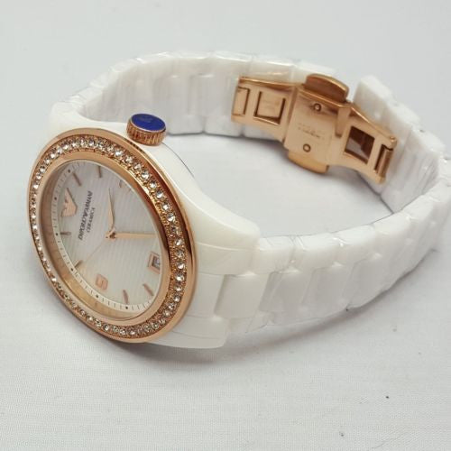 Womens Emporio Armani Cerámica AR1472 Women´s White Watch  NEW BOXED FREE SHIP