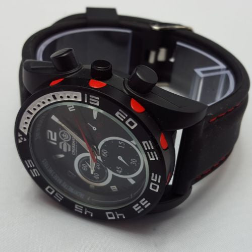 Crosshatch Men's Quartz Watch Analog Display  Black Silicone Strap CRS14/C A01H