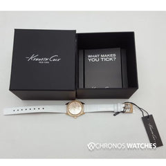 Kenneth Cole Gold Plated Stainless Steel White Calfskin Watch KC2844