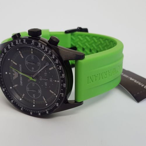 Black Ion-Plated Steel Green Rubber Strap Sports Watch by Emporio Armani AR6115