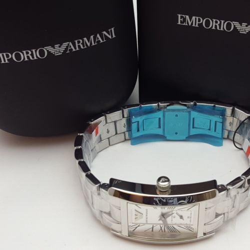 Emporio Armani Women's AR0146 Silver Stainless-Steel Quartz Watch Silver Dial