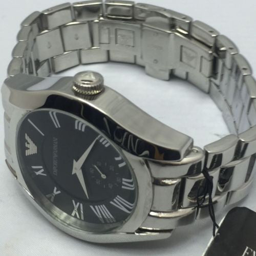 Emporio Armani AR0680 Gents Round Case Black Dial Stainless Steel Bracelet Watch
