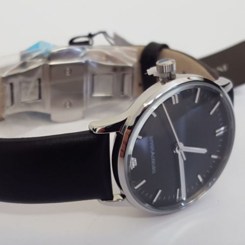 Hand Black Leather Mens Classic Wristwatch by Emporio Armani - AR1600