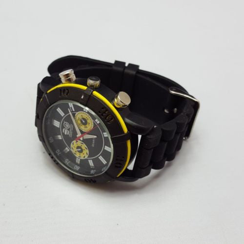 Crosshatch Men's Quartz WatchAnalogue Display Black Silicone Strap CRS34/B A01H