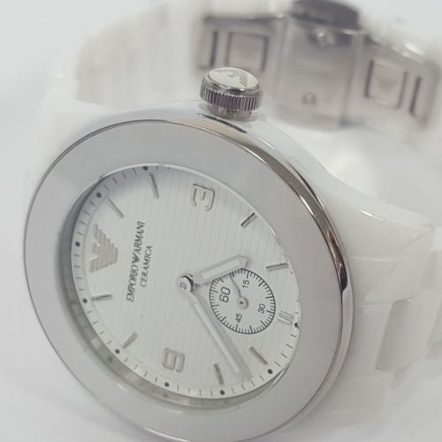 Stylish Unisex White Plated Ceramica Chronograph Watch by Emporio Armani AR1425