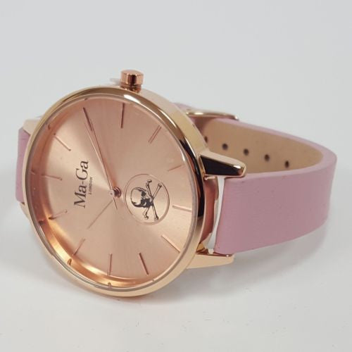 MA-GA LONDON ANGEL WOMEN'S WATCH WWB5 Rose Gold Face & Case Pink Leather Strap