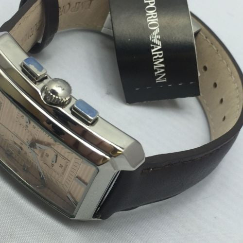 Emporio Armani Men's Quartz Watch AR0473 with Leather Strap NEW BOXED FREE SHIP
