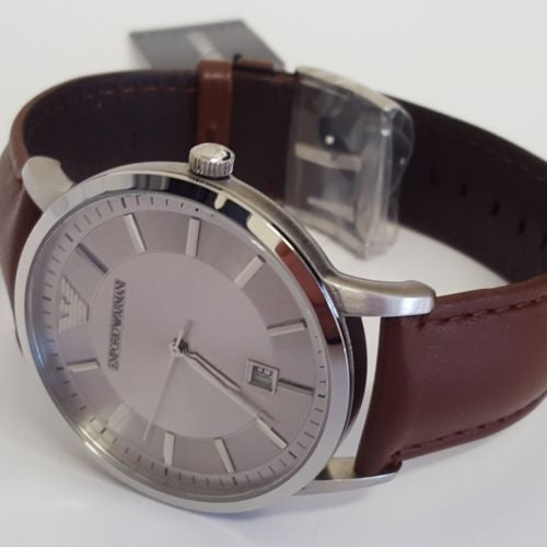 Classic Gents Silver Dial Leather Renato Watch by Emporio Armani AR2463