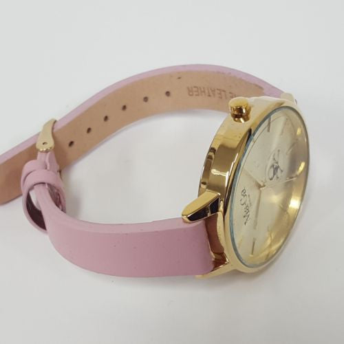 MA-GA LONDON MAIDA VALE LADIES' WATCH WWB3 Gold Case & Face Pink Leather Strap