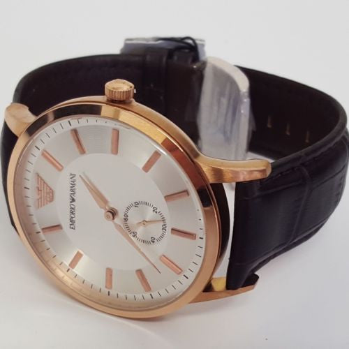 Brown Leather Stainless Steel Gents Watch Rose Gold Emporio Armani AR9101