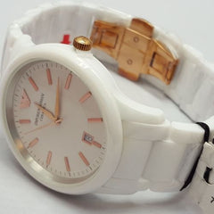 Emporio Armani AR1467 Unisex CERAMICA White and Rose Gold Mens Watch AR2