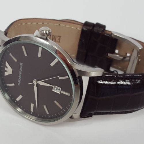 Classic Gents Brown Leather Cermani Watch by Emporio Armani Mens AR2413
