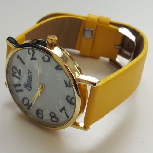 Ladies Yellow Luxury Faux Leather Watch Marble Effect Dial by Cheeky HE08